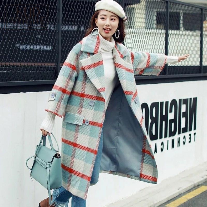 Women Jacket Winter Autumn Lapel Plaid Coat Plus Size Loose Jackets Warm Trench Long Coat Casual Overcoat Women Blend Coat 2018