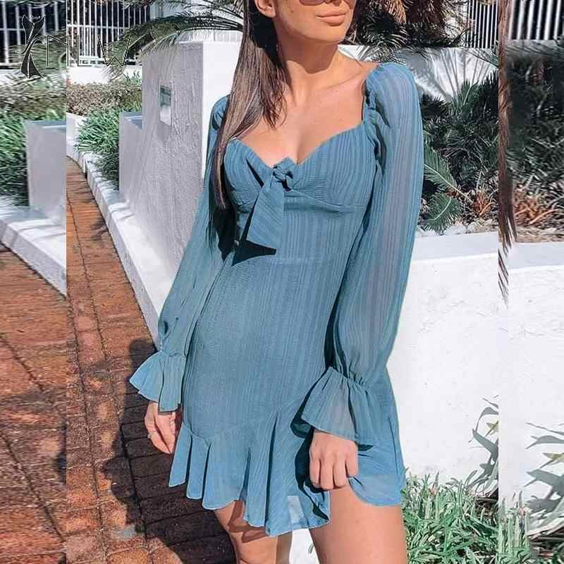 NLW התלקחות ארוך שרוול נשים שמלת סתיו חורף לפרוע Mesh קצר שיפון שמלת Bowknot אלגנטי מוצק כחול מיני שמלת Vestidos