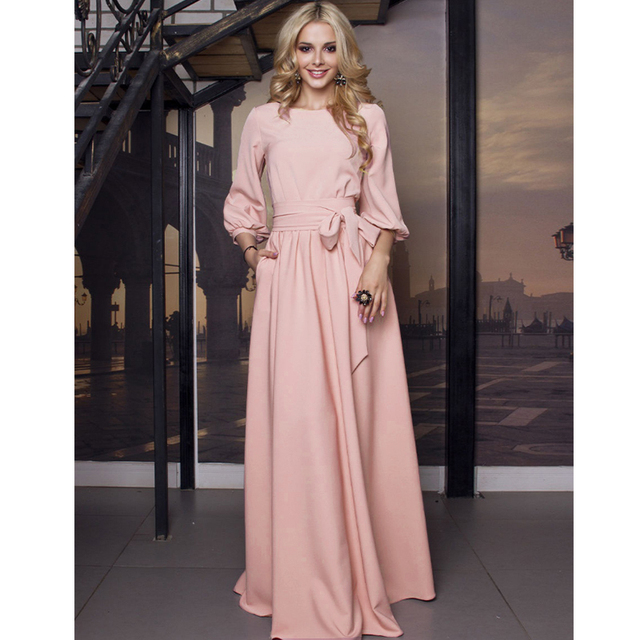Vintage Bow Tie Maxi Long White Dress Women Lantern Sleeve Elegant Bandage Dress 2019 Solid o Neck Boho Floor-Length Dress