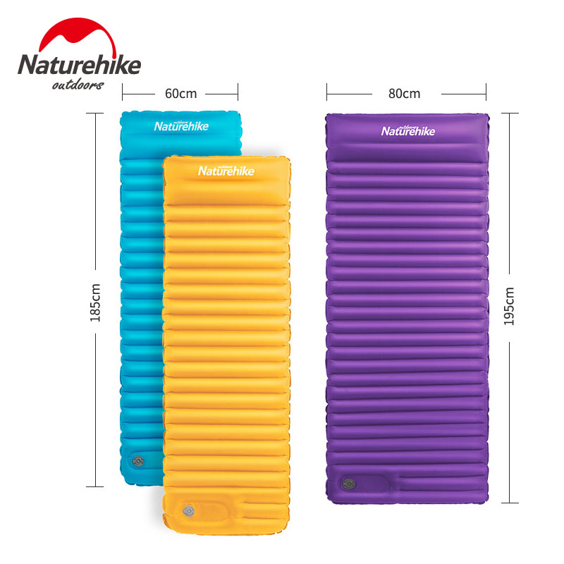 Naturehike Camping Mat Inflatable Mattress Thicken Air Mat Sleeping Pad With Pillow Lightweight Portable Tent Mat NH18Q001-D