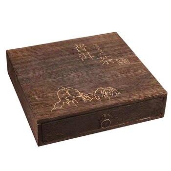 Accesorios elegante cuadrado regalo Vintage Flip Cover de madera joyería paquete almacenamiento...