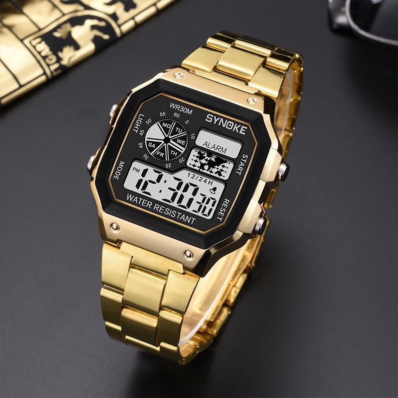 Business Men Watches Waterproof Electronic Sport Watch Digital Wristwatches Men Clock Relogio PANARS Gold Reloj Hombre 2020