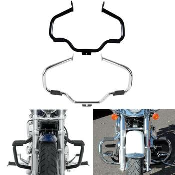 Barra protectora para motor de motocicleta, bigote, para Harley Fatboy Heritage Softail FLSTNSE FLSTN FLSTF FATBOY 2000-2017, cromado negro
