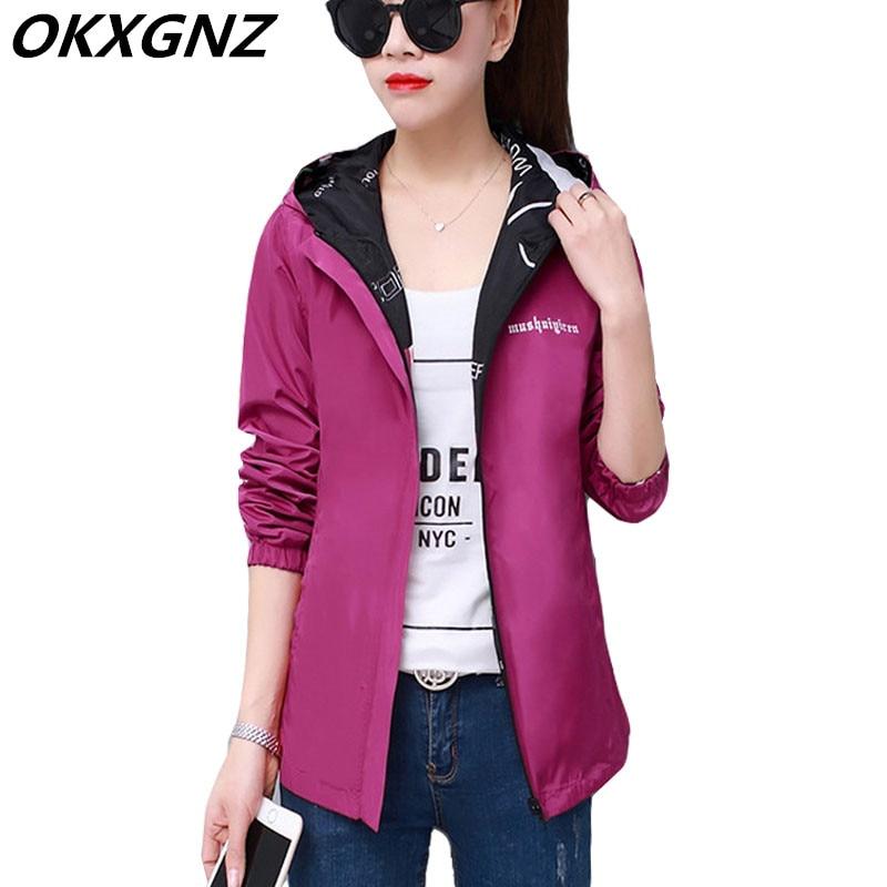 2020 Spring Autumn Fashion Women Jacket Coat Pocket Zipper Hooded Two Side Wear Outwear Casual Loose Overcoat Tops Plus Size 4XL
