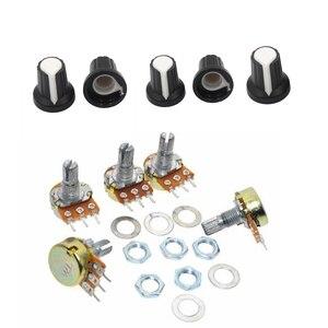 5pcs/lot WH148 potentiometer + knobs 15mm 3pin single potentiometer Light volume adjustment resistors set B1k B5K B10K B100K