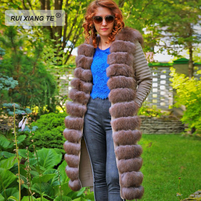 Women real fur coat genuine wool knitting with fox collar warm winter coat real fox fur