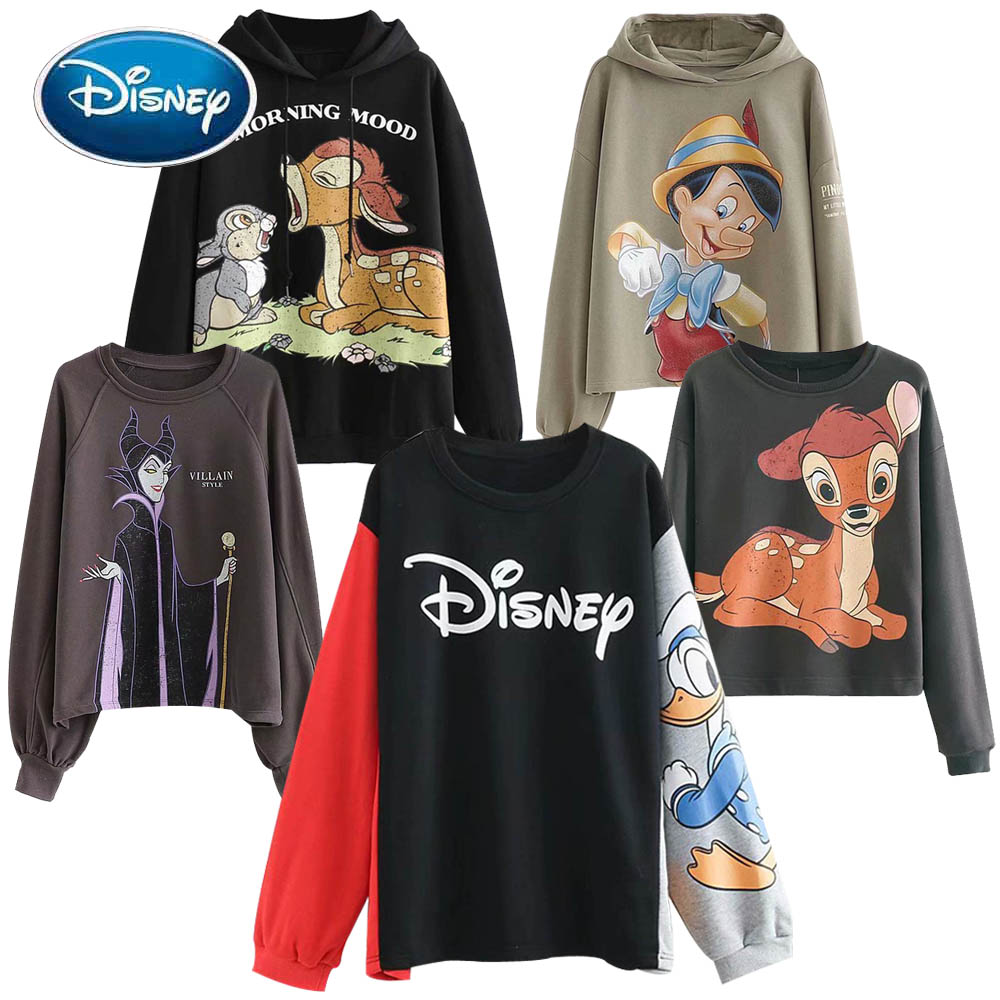 Disney Sweatshirt Chic Fashion Minnie Mickey Mouse Donald Duck Bambi Cartoon Letter Print Unisex Women Hoodie Long Sleeve Tops