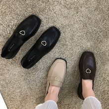 Shoes Loafers Square-Head Spring Retro Metal Fashion Buckle New