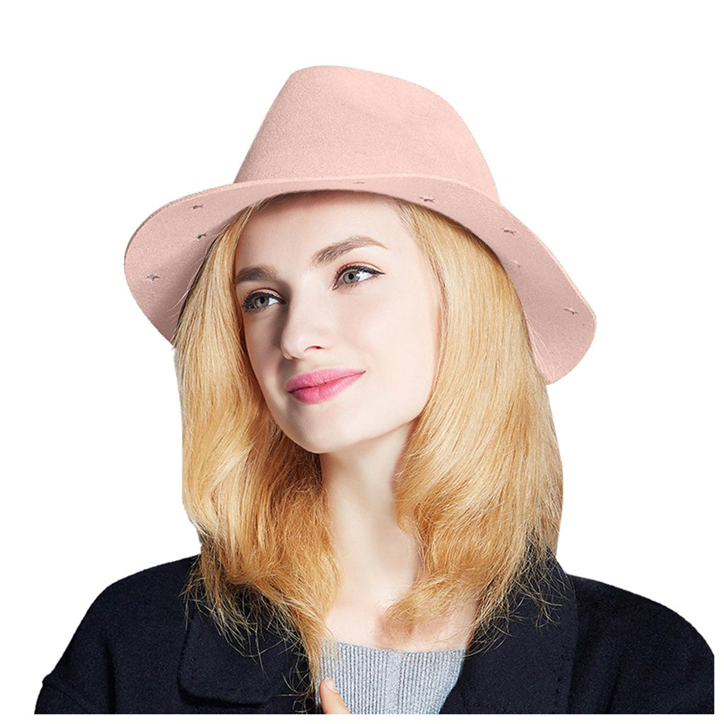 SAGACE Women Fashion Wool Wide Brim Style Painter Hat Cap  Vintage Warm Party Hat  Vintage Cute Elegant Style Keep Warm All Day