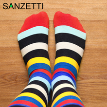 SANZETTI 1 Pair New Happy Socks High Quality Men Colorful Bright Comfortable Com