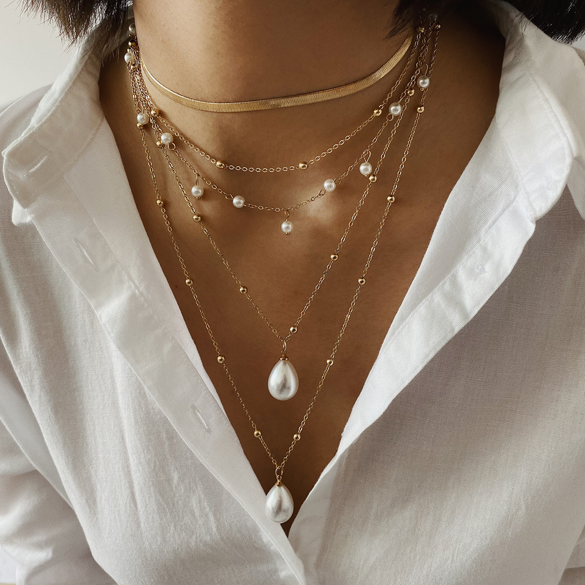 Boho Pearl Muliti Layered Bead Chain Pendent Necklace For Women Gold Metal Collar Choker Necklace Fashion Retro Long Chain Gifts