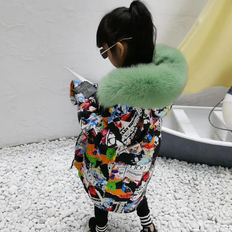 Enfants fourrure veste hiver garçons filles manteau Graffiti épaissir chaud Rex lapin fourrure pardessus enfants vraie fourrure veste pour filles TZ147