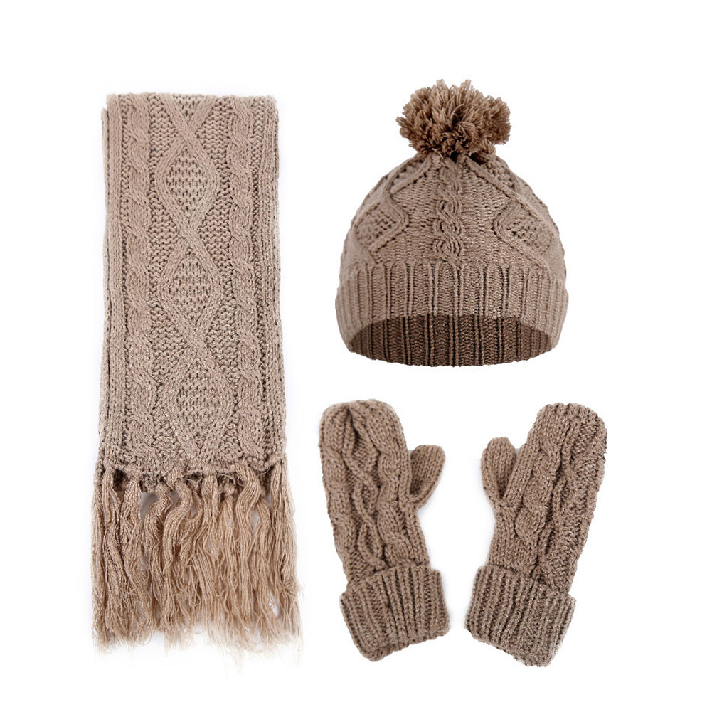 Windproof Artificial Woolen Casual Hat Knitted Warm Scarf AND Gloves Set Winter