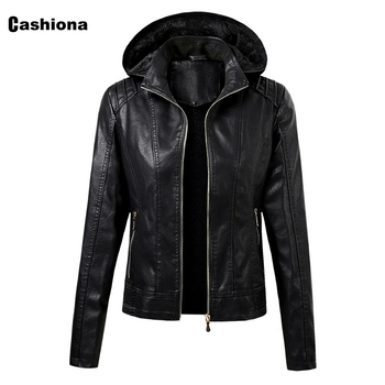 Women Hooded PU Leather Jackets Coffee Black Winter Warm Outerwear Motorcycle Coats Fashion Faux Leather Jacket Hoodies 2020 2020 pu leather parkas women fashion hooded faux leather coats women elegant zipper cotton jackets female ladies clothing c20