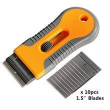 Foshio 멀티 면도기 스크레이퍼 + 10pcs 스틸 블레이드 창 색조 도구 커터 자동차 자동차 필름 스티커 리무버 스퀴지 비닐 청소 도구