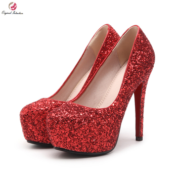 Original Intention Sexy Lady Platform Thin High Heels Round Toe Bling Gorgeous Pump Wedding Party Shoes Women Size 4~8.5