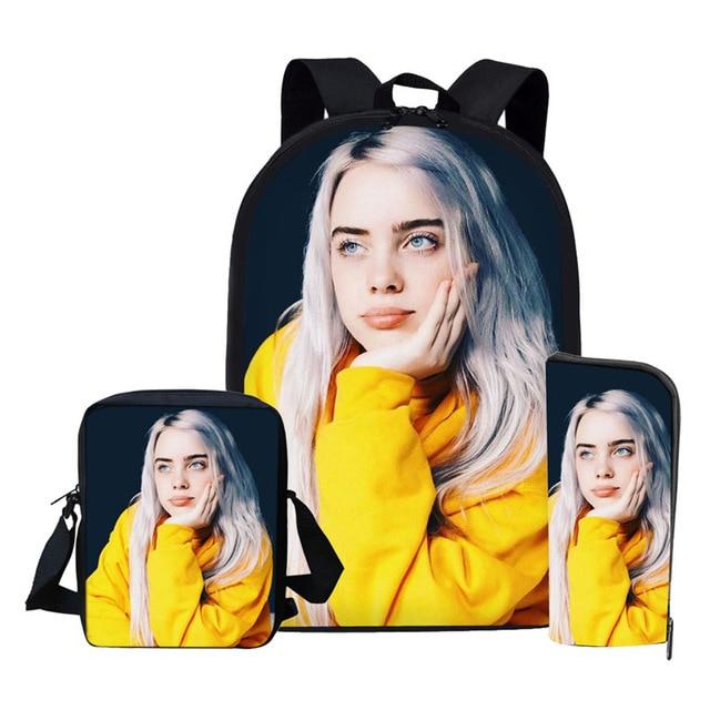 Billie Eilish Backpack Back To School 16 Inch Children Bag Pack Kids Girls Knapsack Teenager 3Pcs/Set School Bag Mochila Escolar