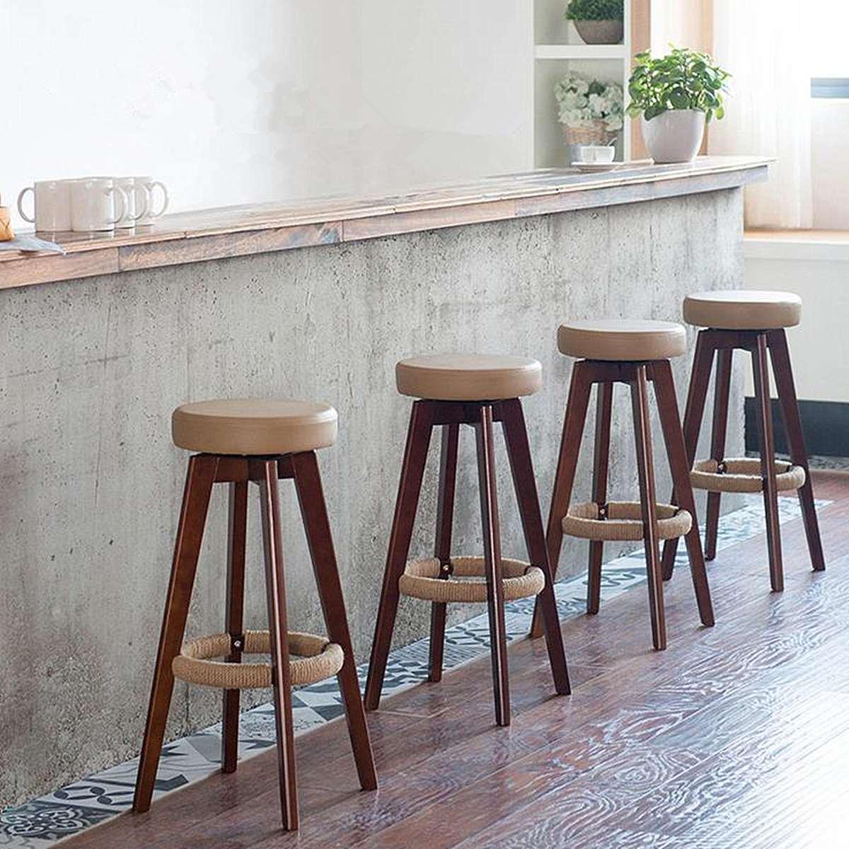 74cm Modern Dining Bar Stool Wooden Long Leg PU Chair Industrial Swivel Seat Cafe Restaurant Stool Home Bar Furniture 3 Colors