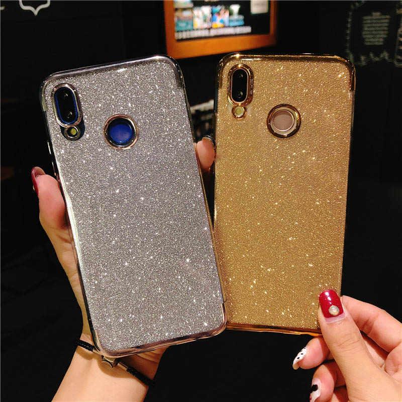 Glitter Plating Case untuk Huawei P20 P10 P30 Mate 20 Lite 30 Pro Nova 3 4 5 Kehormatan 7A 7C 8A 9X 8X Y6 2019 Cover Tpu Fundas Coque