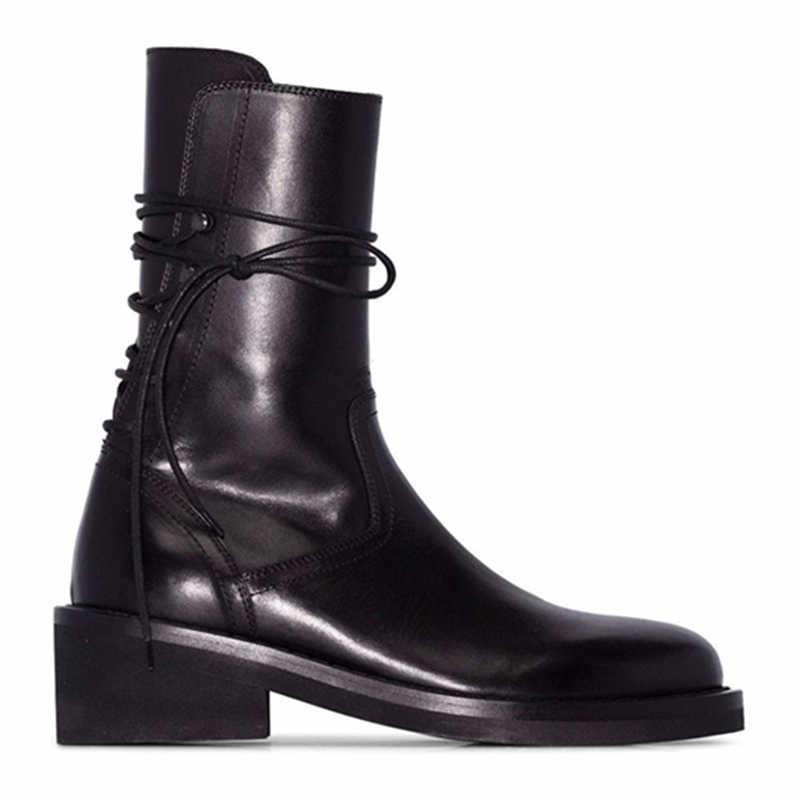 Botas negras femeninas De cuero De invierno Botas De media pantorrilla Mujer Botas cortas militares mujeres Zapatos De tacón grueso mujeres Zapatos De Mujer