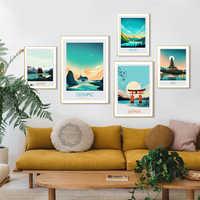 Pintura al óleo de paisaje de Bali, pintura en lienzo Banff de Japón, Póster Artístico impreso, imagen Olímpica de jaspe, pared, decoración nórdica para el hogar