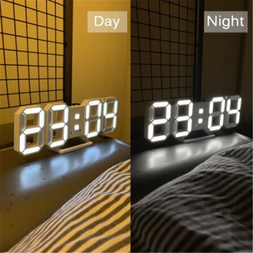 3D LED Wall Clock Modern Design Digital Table Clock Alarm Night Light Saat reloj de pared Watch For Home Living Room Decoration image