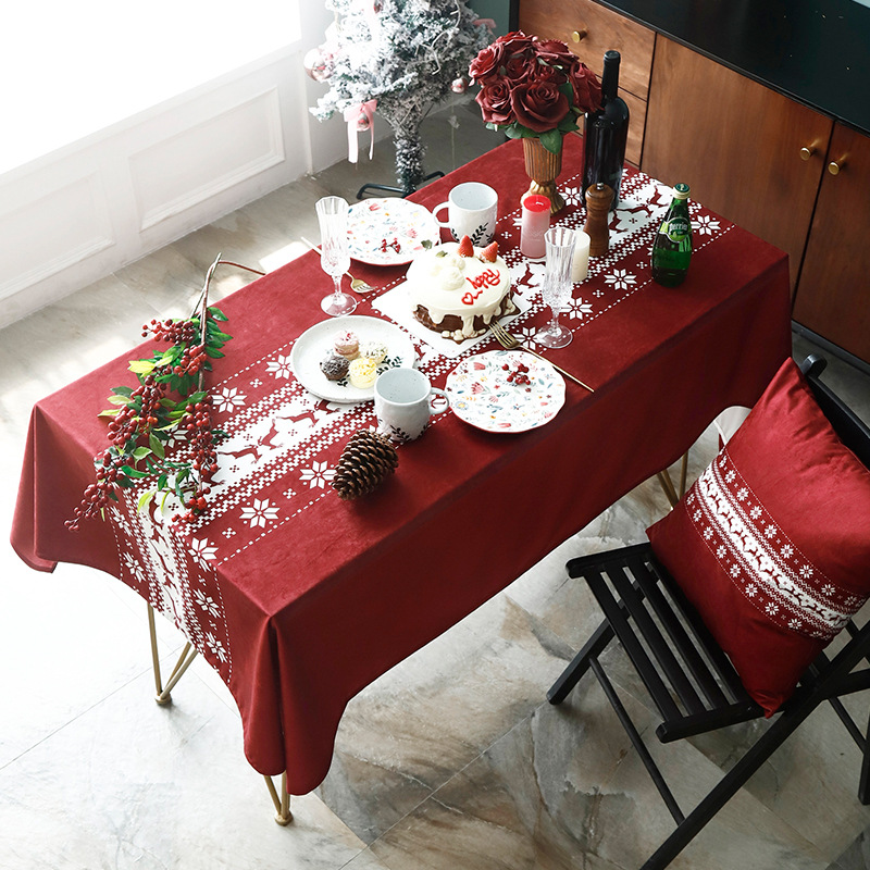Us 1826 49 Offnordic Ins Christmas New Year Red Table Cloth Living Room Decoration Tea Table Cloth Rectangular Tv Cabinet Dust Cover On Aliexpress