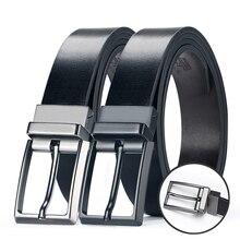 Men's Genuine Leather Reversible Belts For Men Dress Belts Designer Male Rotated Buckle Cowskin Leather Belt For Jean 33mm