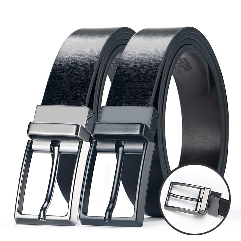 Men s Genuine Leather Reversible Belts For Men Dress Belts Designer Male Rotated Buckle Cowskin Leather