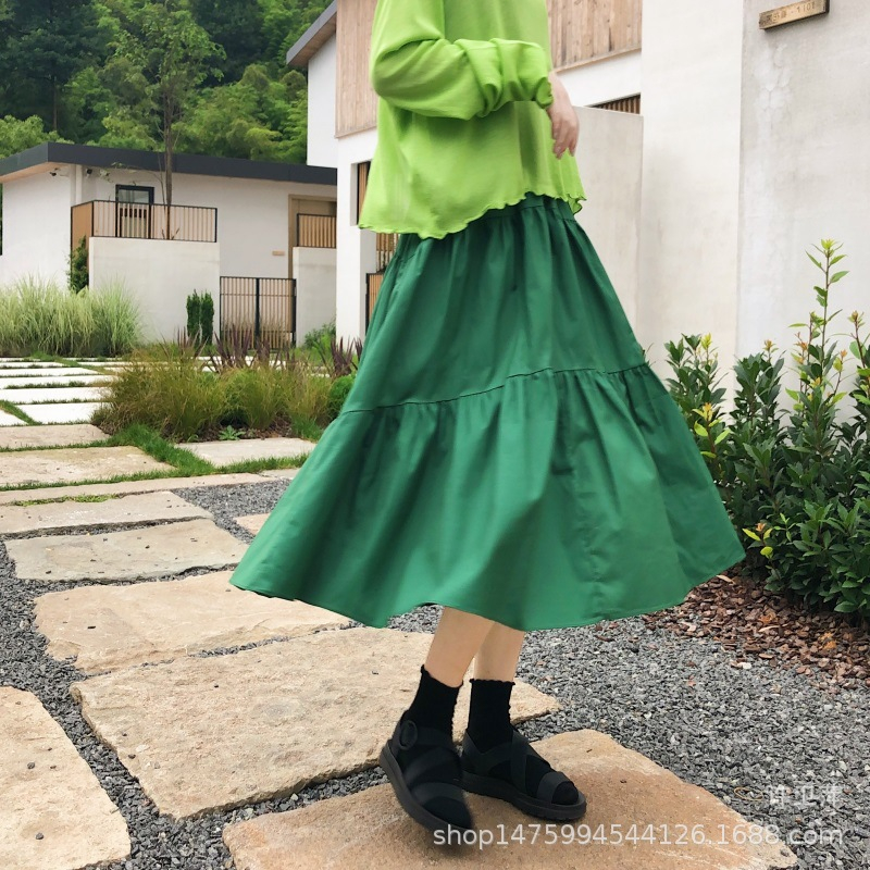 Three Layer Joint Pintuck Cake Cotton Dress Korean-style A- Line High-waisted Versatile Skirt Students INS Fashion