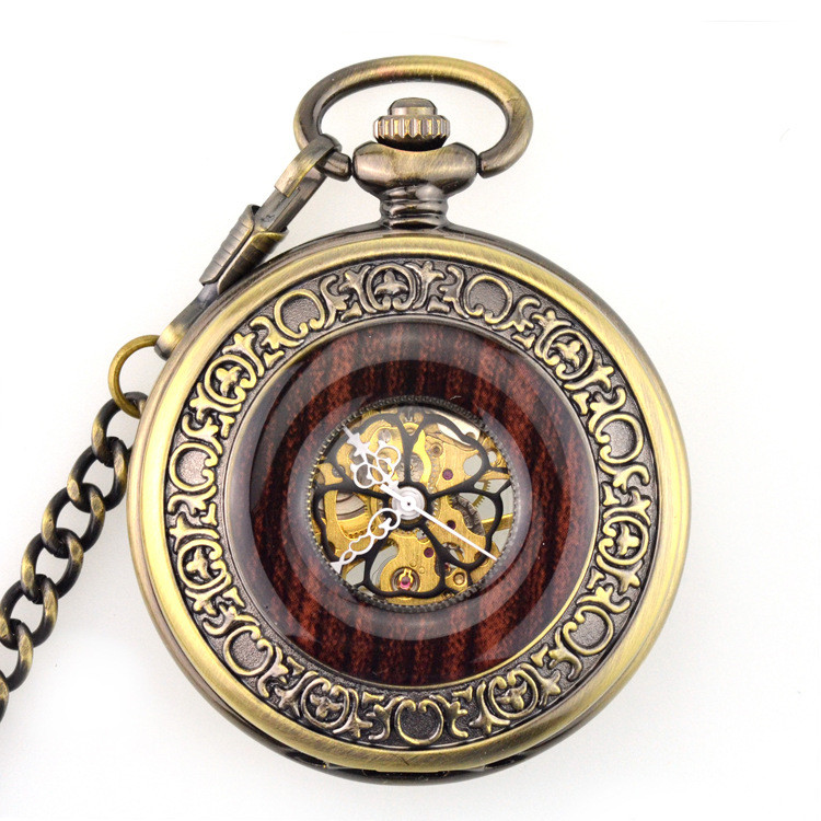 Mechanical Pocket Watches Bronze Fashion & Casual Steampunk Hollow Retro Skeleton Dial With Fob Chain 37.5CM