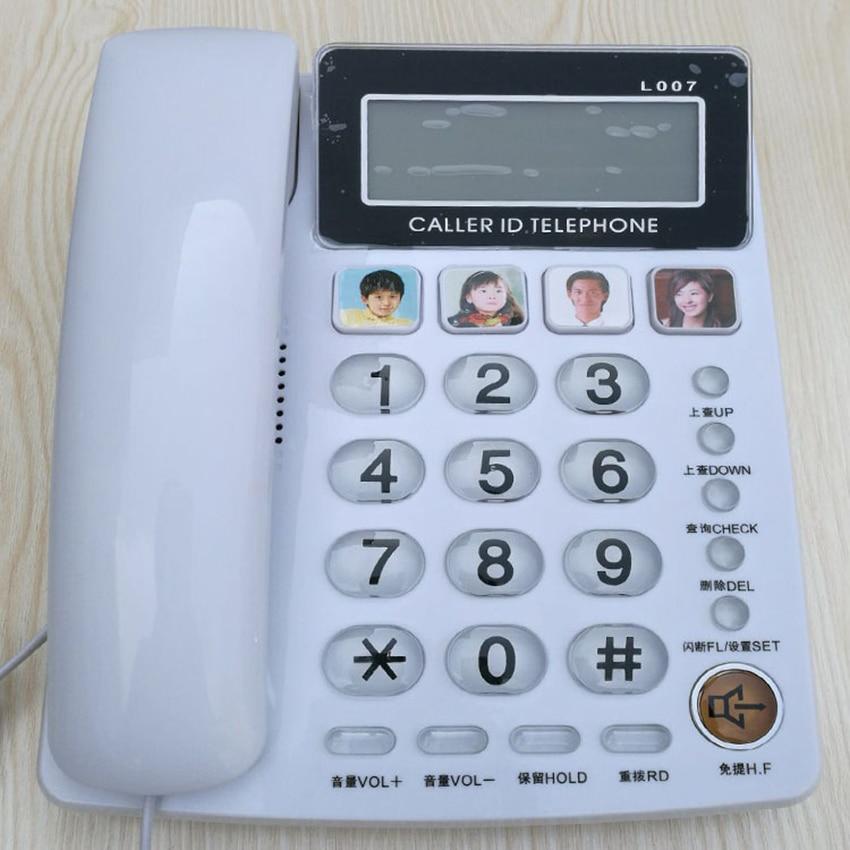 Настольный телефон, АОН, телефон с 4 картинками, система FSK/DTMF, регулируемая громкость и яркость, громкая связь для старших|Телефоны|   | АлиЭкспресс