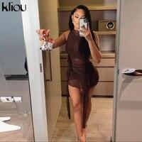 Женские вечерние платья с лентами Kliou, сетчатые прозрачные облегающие Клубные мини-платья без рукавов 3
