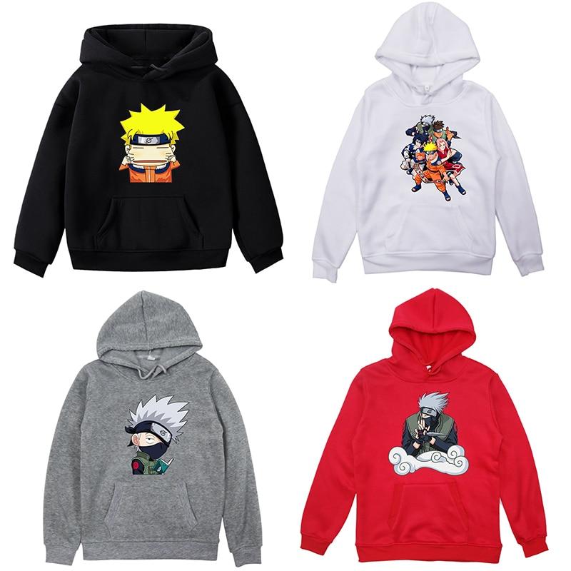 NARUTO Kids Velvet Hoodie Boys Girls Uzumaki Naruto Hoodies Sweatshirt Pullover Hooded Sportswear Kakashi Tops Surprise Gift