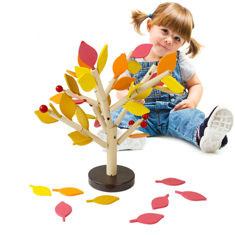 Wood Green Leaves Building Montessori Chopping Block Early Educational Toy Wooden Assembled Tree