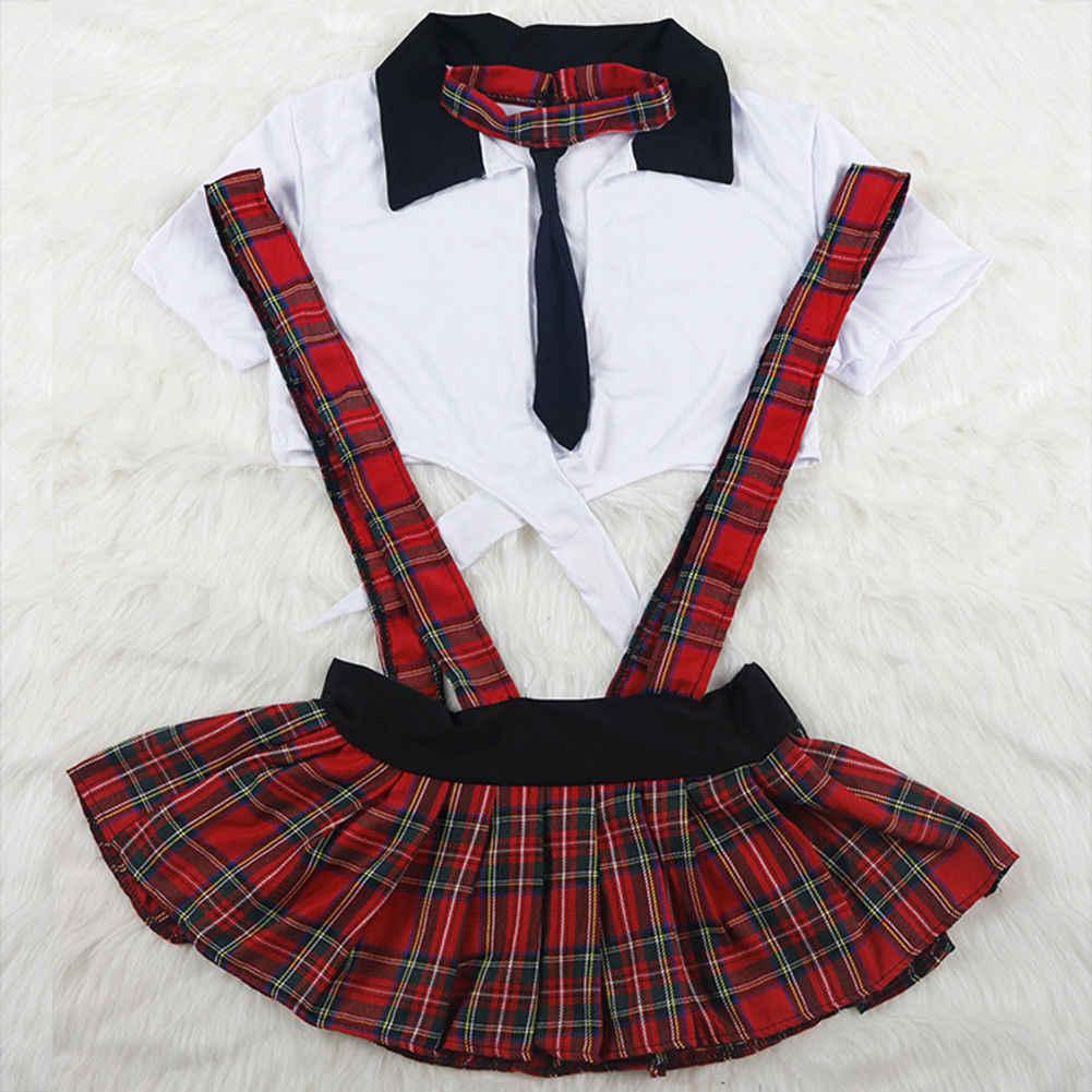 3 adet Seksi İskoçya Öğrenci Okul Kız Üniforma Hizmetçi Lingerie Kostüm Cosplay Kadın Pijama 2 adet Babydolls Erotik Gecelik