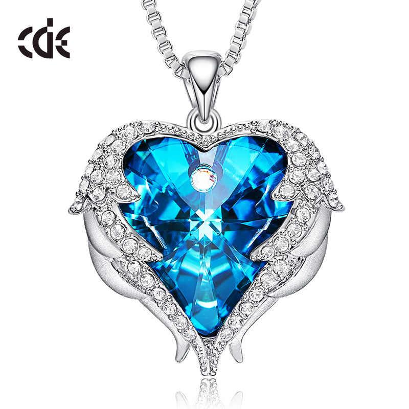 Élégant /& Stylé Argent /& Bleu Ciel Cristal Ange Ailes Pendentif Collier N144