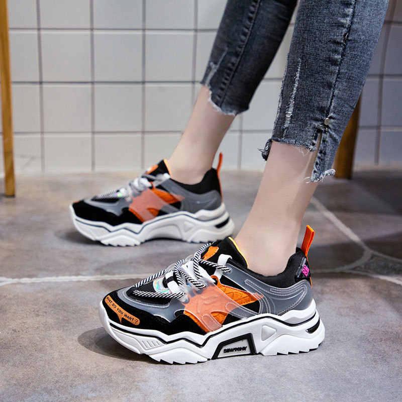 2019 Bahar Yeni Deri kadın Platformu Tıknaz Ayakkabı Moda Kadın Düz Kalın Taban Ayakkabı Kadın Baba Ayakkabı Rahat Sarı