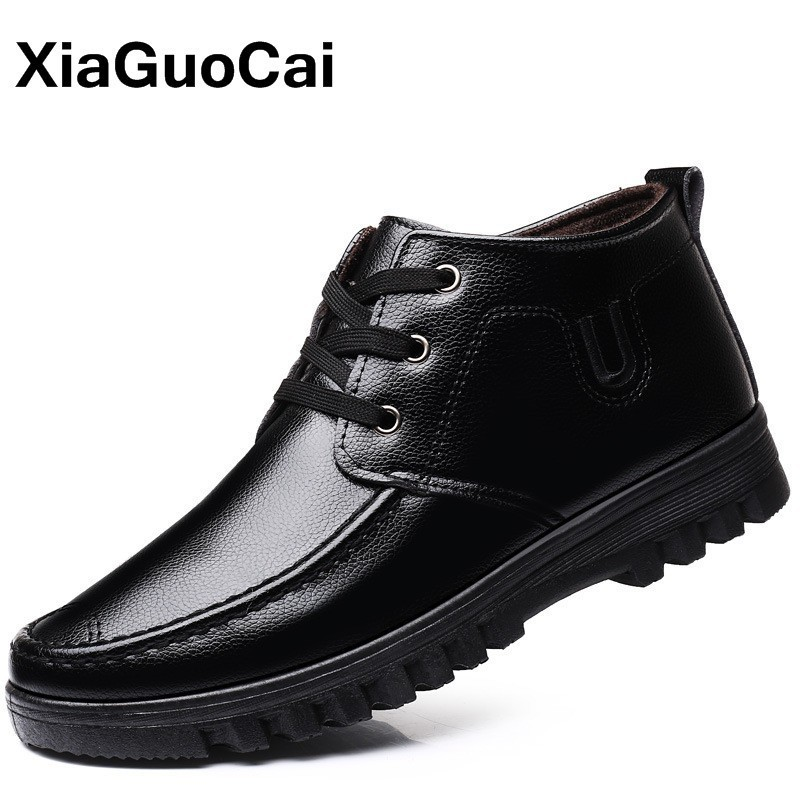 Winter Warm Men Shoes High Top Casual Male Ankle Boots With Fur Black Lace Up Business PU Leather Mans Footwear Furry Round Toe