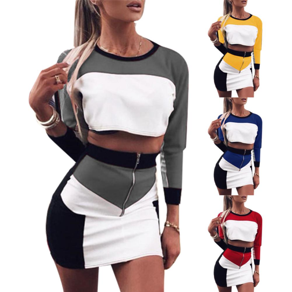 Ladies Patchwork Hot Selling Clothes Sets Long Sleeve Crop Tops +Zipper High Waist Skirts 2PCS Female Club Wear Sets