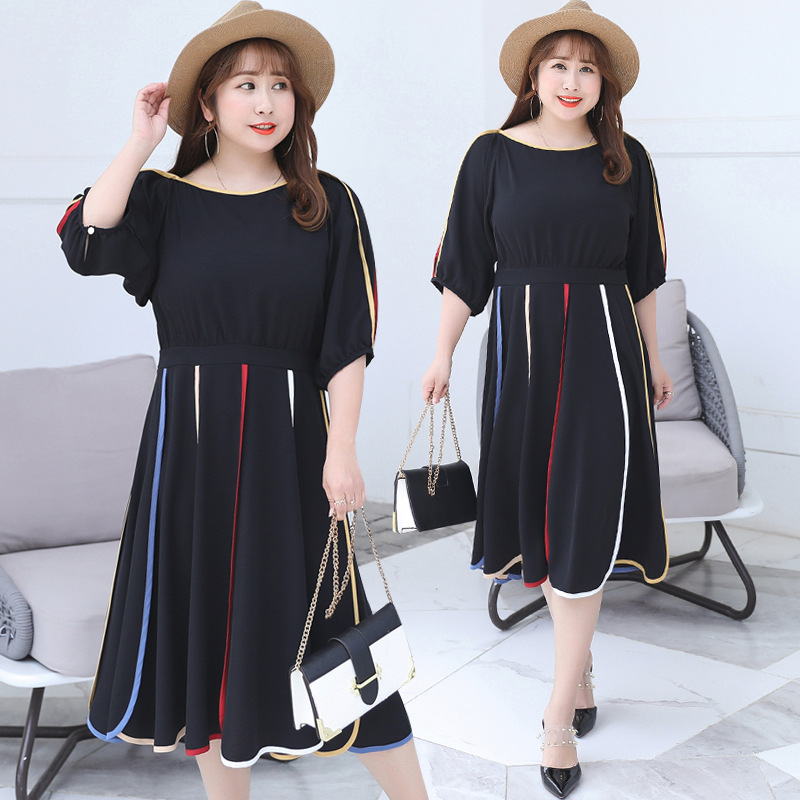 2019 Summer New Products Large GIRL'S Size Plus-sized WOMEN'S Dress Slimming Chiffon Dress Black Skirt 6629