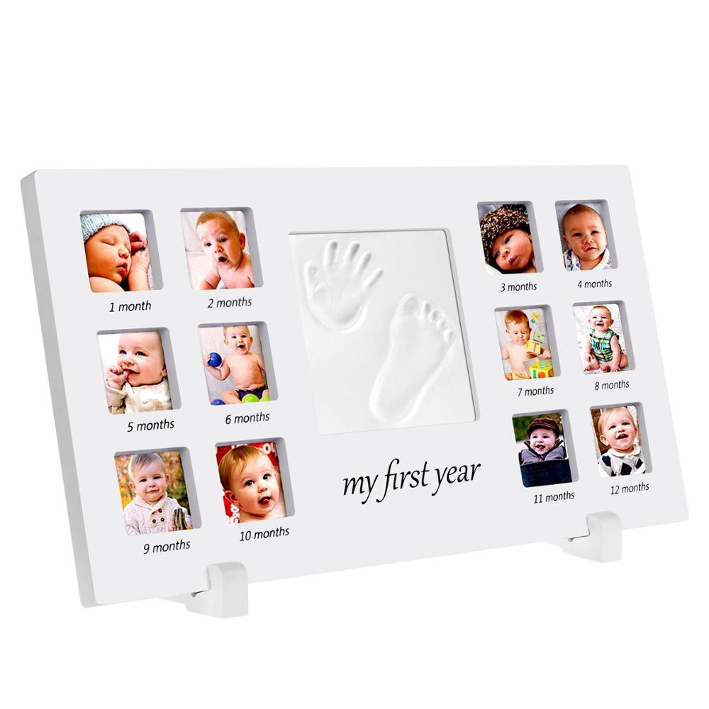 Baby Handprint And Footprint Photo Frame Kit For Newborn Boys And Girls, Babyprints Paper And Clean Touch Ink Pad To Create Baby