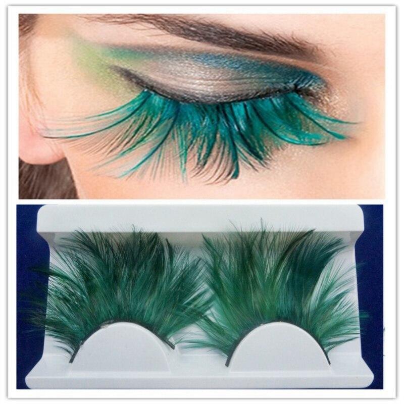Stage Halloween Eyelashes Blue Big Extra Long Feather Eyelashes Extra Extension Feather False Eyelashes Dance Exaggeration