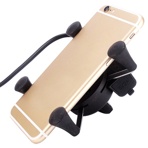 Image 5 - Besegad Motorcycle Mobile Phone Holder Mount Support With USB Charger 360Degree Rotation for Moto pouch 3.5 6 inch GPS bracker
