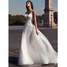Пляжное свадебное платье трапеция verngo spagheeti на бретельках