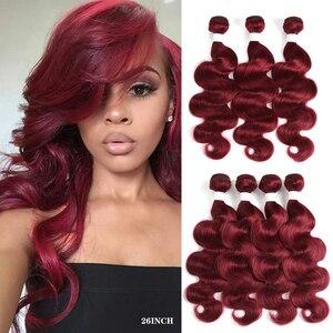 Пупряди человеческих волос BURG # красного цвета, 3/4 шт., пупряди бразильских волос с волнистыми волосами, 8-26 дюймов, волосы Remy, наращивание