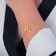 Simple Hollow Peach Heart Chain Bracelets for Women Personality Adjustable Charm Bracelet Jewelry Pulseras Mujer