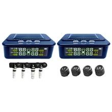Carro solar tpms display lcd monitoramento de pressão dos pneus automático sensor de pneus temperatura alarme de pressão dos pneus sistema de aviso visture