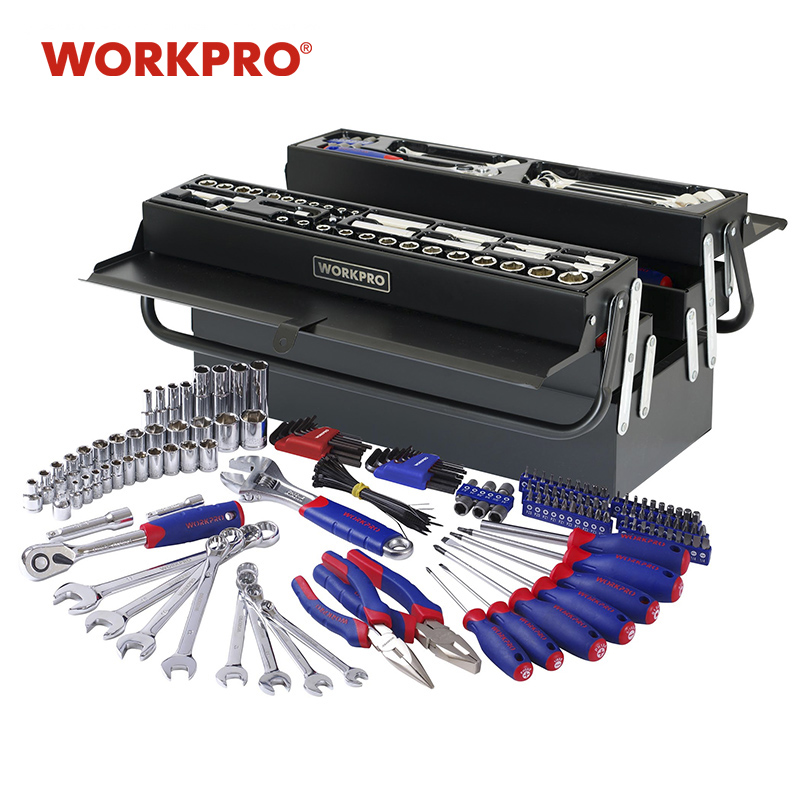 WORKPRO 183PC Metal Tool Box Set Home Tool Set Repair Tool Kits Screwdriver Set Socket Set