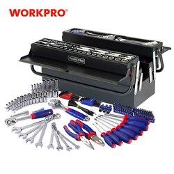 Workpro 183 Pc Metallo Tool Box Set Set di Strumenti di Casa Kit di Strumenti di Riparazione Set di Cacciaviti Set Presa